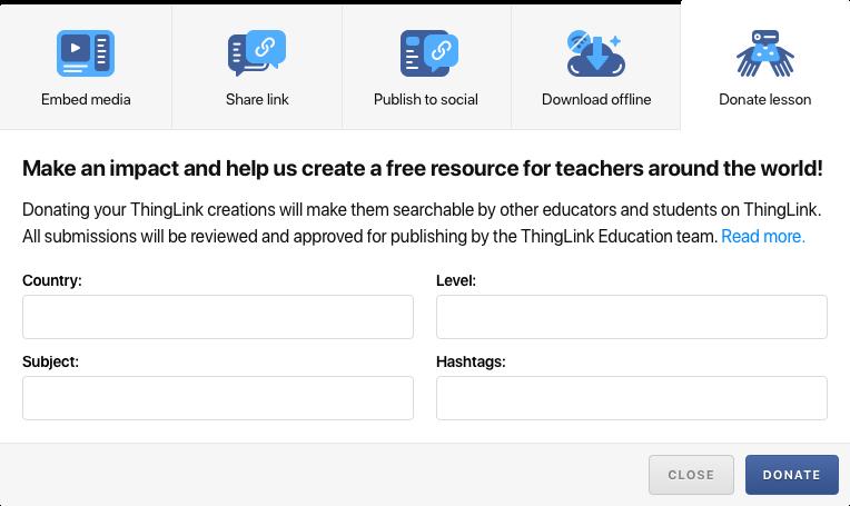Screenshot of the Donate lesson window